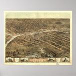 1868 Des Moines, mapa panorámico de la opinión de  Poster