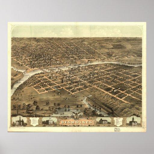 1868 Des Moines, mapa panorámico de la opinión de  Póster