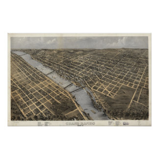 1868 Grand Rapids, MI Birds Eye View Panoramic Map Poster