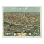 1868 Iowa City, IA Birds Eye View Panoramic Map Poster