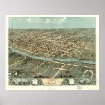 1868 Iowa City, IA Birds Eye View Panoramic Map Poster