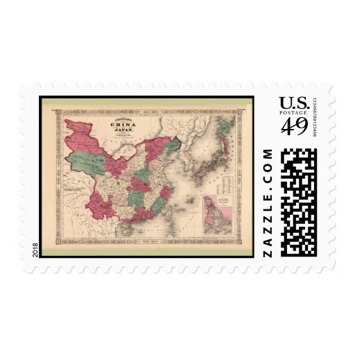 1868 Map - Johnson's China and Japan Stamps