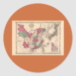 1868 Map - Johnson's China and Japan Classic Round Sticker