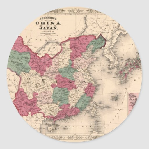 1868 Map - Johnson's China and Japan Round Stickers