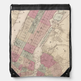 1868 Map of New York and Brooklyn Drawstring Backpack