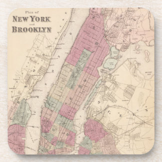 1868 Map of New York and Brooklyn Drink Coaster
