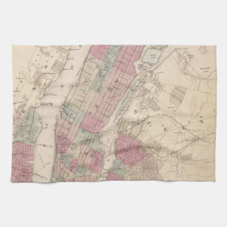 1868 Map of New York and Brooklyn Kitchen Towels