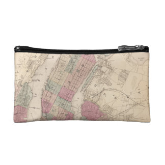 1868 Map of New York and Brooklyn Makeup Bag
