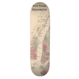 1868 Map of New York and Brooklyn Skateboard Deck