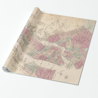 1868 Map of New York and Brooklyn Wrapping Paper
