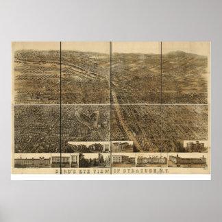 1868 Syracuse, mapa panorámico de la opinión de oj Impresiones