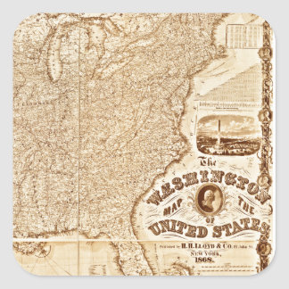 1868 United States Map Square Stickers