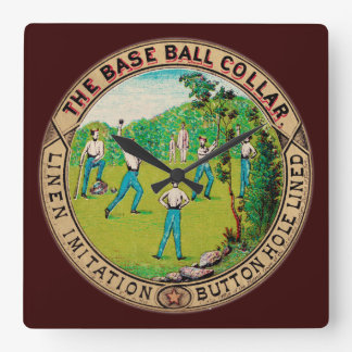 1868 Vintage Baseball Collar Logo Square Wallclocks