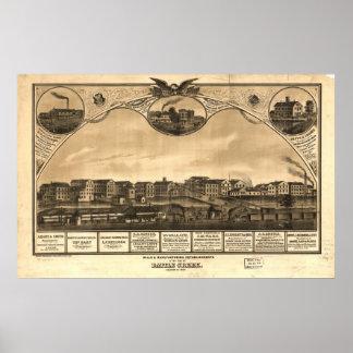 1869 Battle Creek, MI Birds Eye View Panoramic Map Poster
