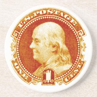 1869 Benjamin Franklin Stamp Coasters