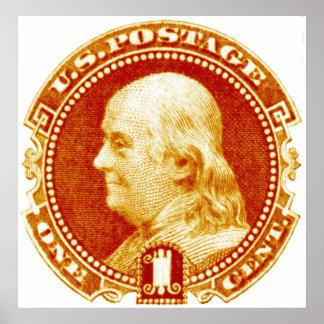 1869 Benjamin Franklin Stamp Poster