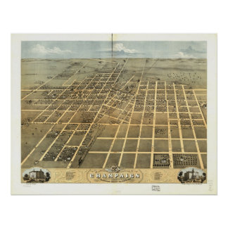 1869 Champaign, IL Birds Eye View Panoramic Map Poster
