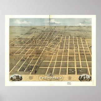 1869 Champaign, IL Birds Eye View Panoramic Map Print