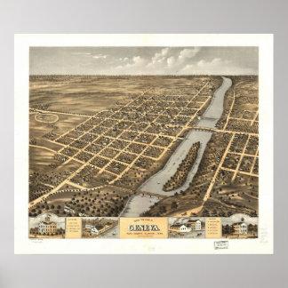 1869 Geneva, IL Birds Eye View Panoramic Map Poster