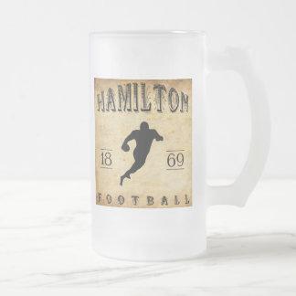 1869 Hamilton Ontario Canada Football Frosted Glass Beer Mug
