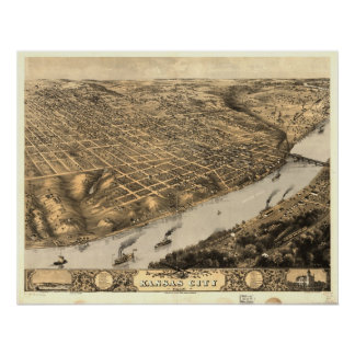 1869 Kansas City, MO Birds Eye View Panoramic Map Poster