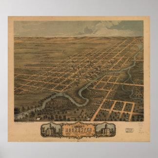 1869 Rochester, mapa panorámico de la opinión de o Póster