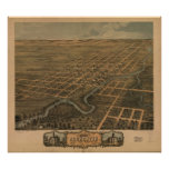 1869 Rochester, MN Birds Eye View Panoramic Map Poster