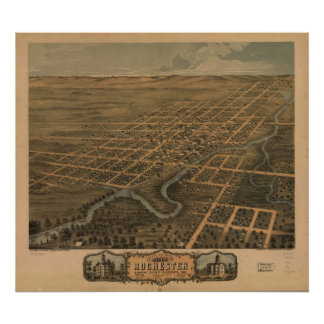 1869 Rochester MN Birds Eye View Panoramic Map Print