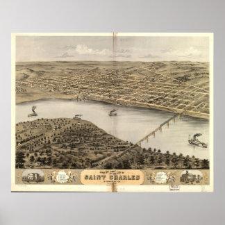 1869 Saint Charles MO Birds Eye View Panoramic Map Poster