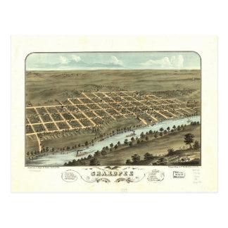 1869 Shakopee, MN Birds Eye View Panoramic Postcard