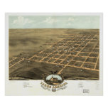 1869 Young America IL Birds Eye View Panoramic Map Poster
