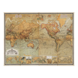1870 Baur and Bromme World Map Mercator Projection Poster