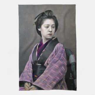 1870 Beautiful Japanese Woman Hand Towel