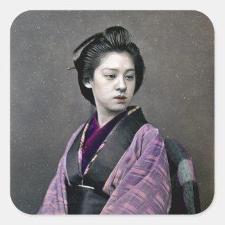 1870 Beautiful Japanese Woman Square Sticker