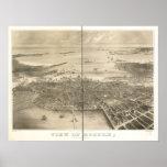 1870 Boston, mapa panorámico de la opinión de ojo  Posters