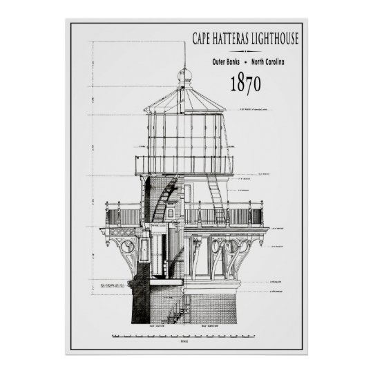 1870 cape hatteras lighthouse blueprint poster zazzle 1870 cape hatteras lighthouse blueprint poster malvernweather Images