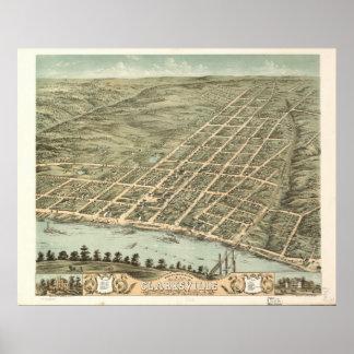 1870 Clarksville, mapa panorámico de la opinión de Impresiones