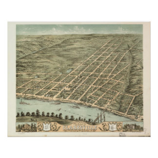 1870 Clarksville, TN Birds Eye View Panoramic Map Poster