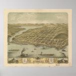 1870 el Hudson, mapa panorámico de la opinión de o Posters