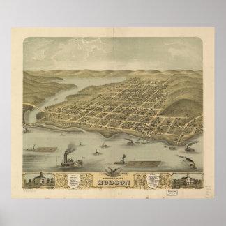 1870 Hudson, WI Birds Eye View Panoramic Map Poster