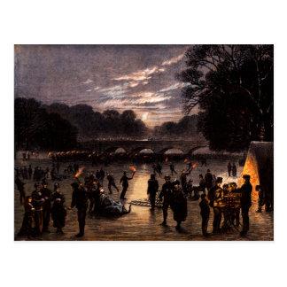 1870 Ice Skating in London Postcard