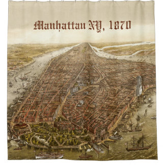 1870 Manhattan New York City Old Map Illustration Shower Curtain