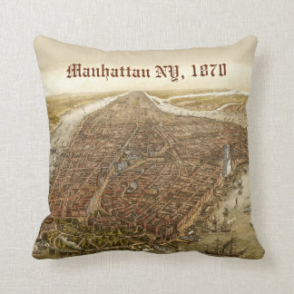 1870 Manhattan New York City Vintage Old Map Throw Pillow