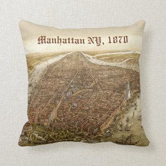1870 Manhattan New York City Vintage Old Map Throw Pillow