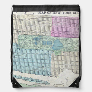 1870 Map New York City Central Park Drawstring Bag