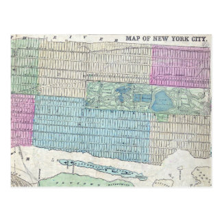 1870 Map New York City Central Park Postcard