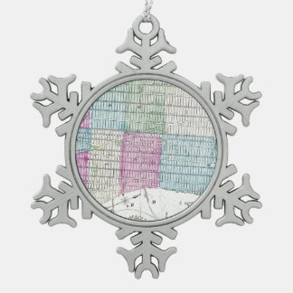 1870 Map New York City Central Park Snowflake Pewter Christmas Ornament