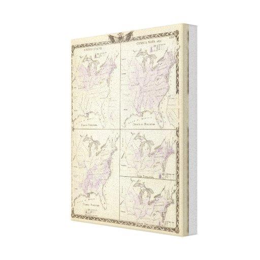 1870 mapas del censo de Estados Unidos Impresiones En Lona