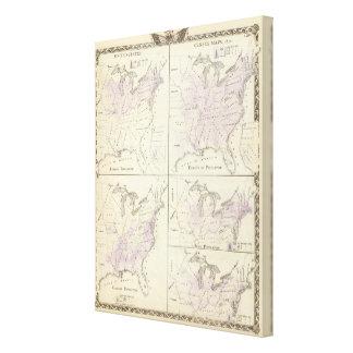 1870 mapas del censo de Estados Unidos Impresiones De Lienzo