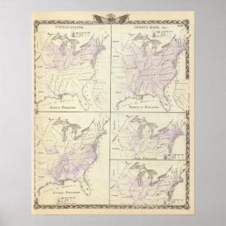 1870 mapas del censo de Estados Unidos Poster